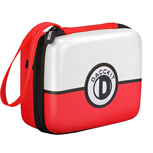 D DACCKIT Carrying Case for Pokemon Trading Cards, Fits Up to 400 Cards, Card Holder with Hand Strap & Carabiner(Red and White) image