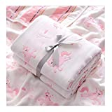 Unicorn Baby Muslin Swaddle Blanket Baby Girl Receiving Blanket Super Soft Bath Towels 43 X 43 Inches