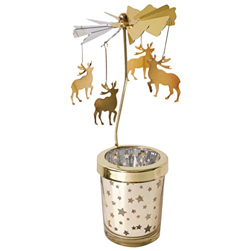 Holibanna portacandele Rotante carosello Natalizio Spinning Cervo Tea Light Holder Decorazione della tavola (Oro) (Renna)