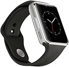 Alike C08 Men and Women Fashion Bluetooth Smart Watches Can Phone and Camera Sports Watch(silver with black band)
