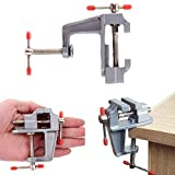Dicrey Mini Table Vise, Clamp Small Bench Vice New Upgraded 3.5' Miniature Jewelers Hobby Clamp On Table Bench Vise Tool for Arts,Crafts,Woodworking,Modeling