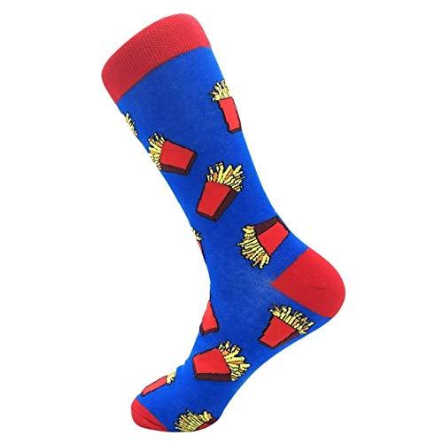 LILONGXI Funny Sokken, Outdoor Mode Atletische Breien Sokken Franse Fries Patroon afdrukken Sokken Ademende Antibacteriële Ms, Herfst Winter Warm Katoen Sokken (3st)