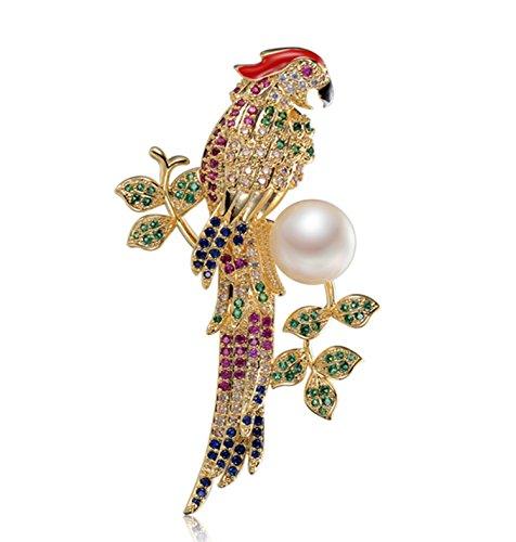 Epinki Dorado Broche de Mujer Loro Broche de Perlas Broches Alfileres Novia Colorido con Perla