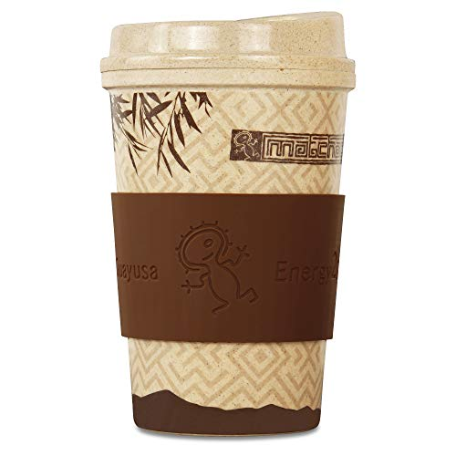 Matchachin Vaso de arroz Energy2Go (400 ml) [Taza de café, Alternativa Coffee 2 go, Reutilizable, Biodegradable] guayusa Energytee – no bambú