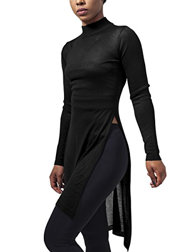 Urban Classics Damen Ladies Fine Knit Turtleneck Long T-Shirt, Schwarz (Black 7), Small
