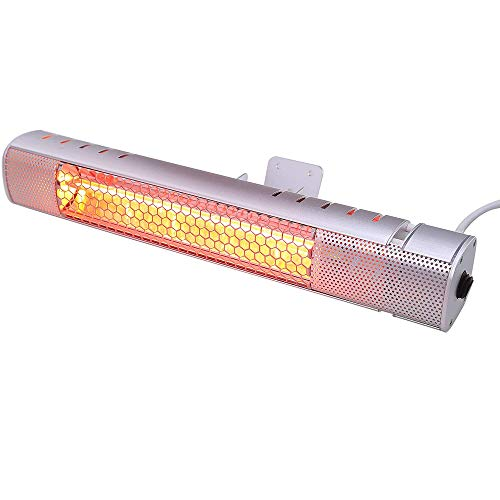Yelite Electric Infrared Patio Heater Wall Mounted Outdoor Garden Patio Heater Waterproof 1500W