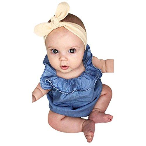 Combinaison de Bébé Filles, Paolian Été Bébé Fille Jumpsuit Denim Vêtements d'escalade pour 0-24M (3M, Bleu)