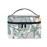 Ahomy - Bolsa de aseo para mujer, diseño de flores tropicales, hojas