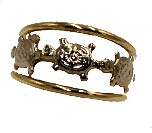 Diamantados of Fla Anillo de Tortuga con Dos Tonos Chapado en Oro de 18 Quilates, tamaño 8