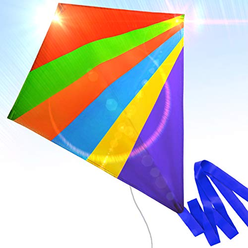 Easy to Fly Nylon Diamond Kite for Kids and Adults Great for Beach Trip and Outdoor Activities Perfect for Beginners Flies High in Light Breeze Flying String Line Included Big Flyer Childrens Toys