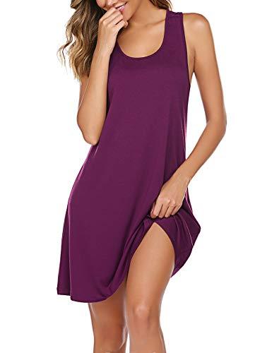 Avidlove Damen Nachthemd Schlafkleid Sexy Nachtwäsche Kurzarm Negligee Baumwolle Sleepwear für Frauen Lila S