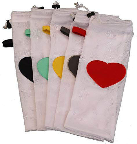 Set of 5 Extra Large Mesh Laundry Bags for Washing Machine and Dryer - Save Time Sorting Socks - Make Sock Laundry Simple – Heart Patch in Different Colors