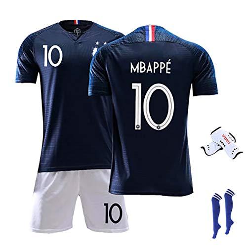 Männer Adult Football Trikot Mbappe # 10 Giroud # 9 2020 Europapokal Trikot für Frankreich Kinder & Männer Fußballfans Ausrüstung Fußball Trikot T-Shirt Shorts Kits-NO.10-20(120~130)