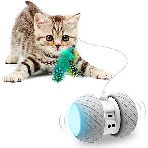 Interactive Robotic Cat Toys,Automatic Irregular USB Charging 360 Degree Self...