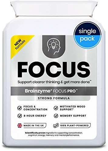 Brainzyme Focus Pro: Stronger Formula Nootropic ('Alpha Brain Smart Pill'): 6318mg 20 actives inc. Tyrosine, Choline = Dopamine Motivation Supplement + 8 Hour Energy Boost (Single Pack)