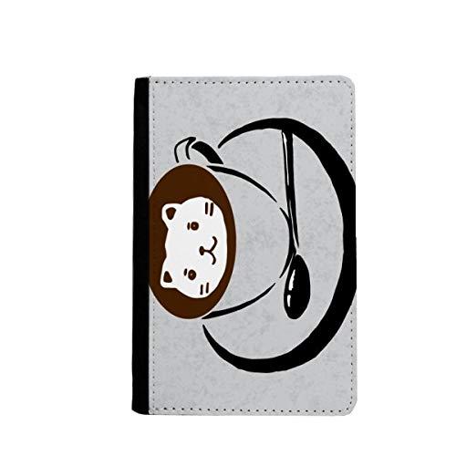 beatChong Kaffeetasse Illustration Schöne Katze-Muster-Pass-Halter Travel Wallet Abdeckungs-Fall Karten-Geldbeutel