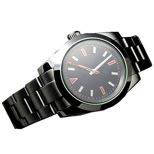 Tickwatch Mechanische Herren-Armbanduhr, 41 mm, schwarzes Zifferblatt, automatisch, Saphirglas, Edelstahl, mechanisch