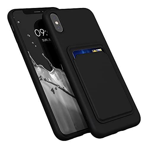 kwmobile Cover Compatibile con Apple iPhone XS Max - Custodia in Silicone TPU con Slot Porta Carte - Back Case Cellulare - Nero