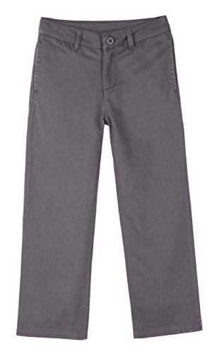 Bienzoe Niño Uniformes escolares Algodón Cintura ajustable Pantalon Gris 14