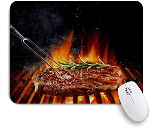 Benutzerdefiniertes Büro Mauspad,Kreatives Entrecote-Rindersteak auf Grill mit Rosmarinpfeffer und Salz,Anti-slip Rubber Base Gaming Mouse Pad Mat