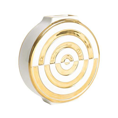 Jonathan-Adler Futura Bullseye Vase - White & Gold
