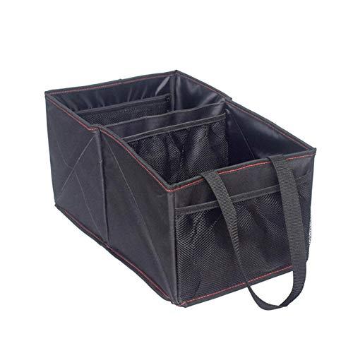 Boîte De Rangement Pliable De Voiture Avec 2 Grands Compartiments Et Poches Latérales Commodes Pour Toutes Les Voitures, Noir