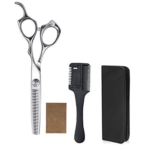 BATQER Tijeras, Conjuntos de Tijeras de peluquería de Acero Inoxidable de Plata deslumbrantes, Herramientas de Pelo Profesional, Tijeras de Dientes, Conjunto de 4 Piezas