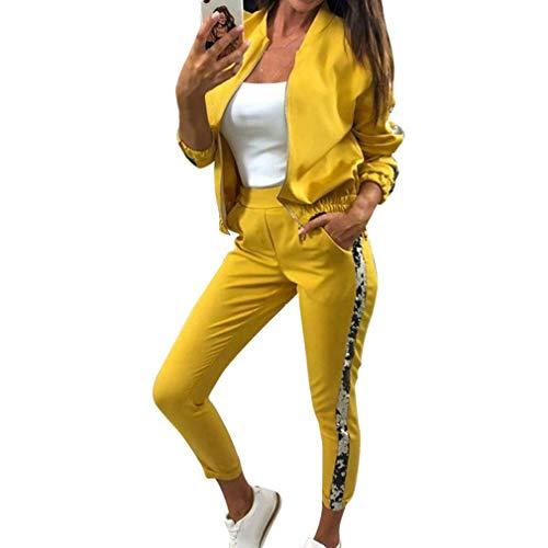 Yying Glitzer Trainingsanzug Damen Set Herbst Zweiteiler Und Hosen Zweiteiler Damen Outfits Sportswear Damen Trainingsanzüge