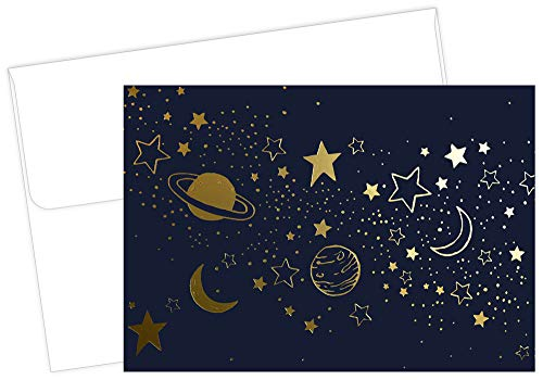 Great Papers! Cosmic Night Gold Foil Note Card & Envelopes, 4.875