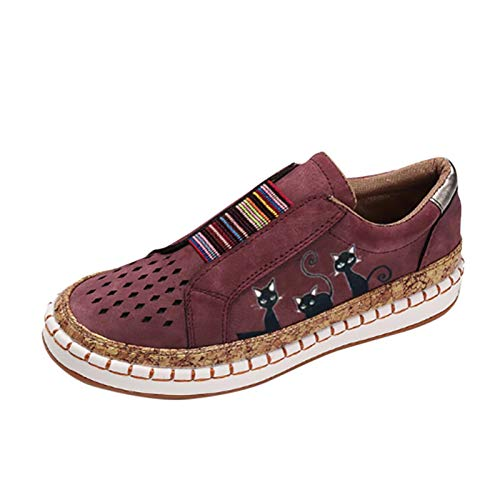 URIBAKY - Zapatos planos para mujer, elásticos, con estampado de gato, zapatillas de deporte, zapatillas de running, running, fitness, transpirables, marrón, 41 EU