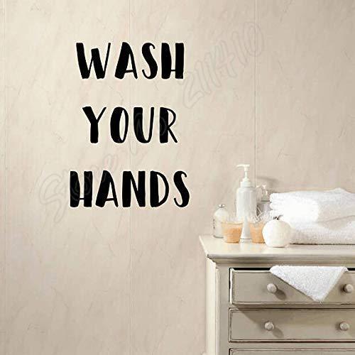 Waschen Sie Ihre Hände Sparen Sie Wasser Zitat Aufkleber Badezimmer Wandspiegel Dekor Kinder Aufkleber Abnehmbare Vinyl Art Wandaufkleber 42X57Cm