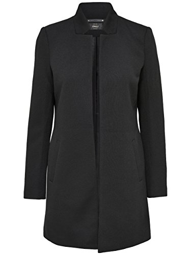 ONLY Damen Mantel Jacke SOHO LIGHT MELANGE COATIGAN Trenchcoat Übergang (M, schwarz (Black))