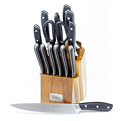Jean-Patrique Onyx Collection Stainless Steel Knife Set with Acrylic wooden Storage Block   Professional Cooking Chef Handles Sharp Knives - 14 Piece Set from Jean-Patrique