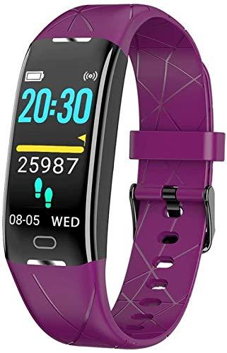 Pulsera inteligente para hombre y mujer para niños, monitor de actividad física, pantalla a color, monitor de presión arterial/frecuencia cardíaca, monitoreo del sueño, paso de calorías, morada