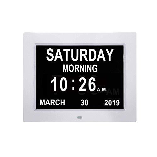 Mhwlai Digital Calendar Days Clock,10 inch Digital Photo Frame, Digital Calendar Day Clock Display Digital Calendar Video Visually impaired Large Alarm Clock Calendar Clock,White