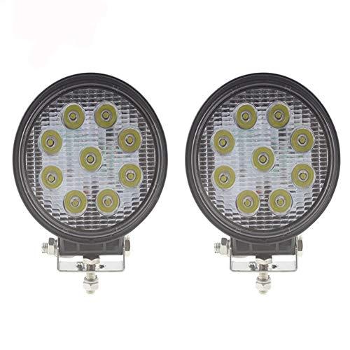 PoJu Lumières hors route de voiture de barres lumineuses de LED 9 lumières rondes de caisse d'alliage d'aluminium de 27W lumières d'inspection imperméables remontent des caisses d'alliage d'aluminium
