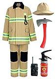 ReliBeauty Déguisement Pompier Enfant avec Accessoires de Pompier de Costume de Pompier pour Garçons et Filles,Kaki 110