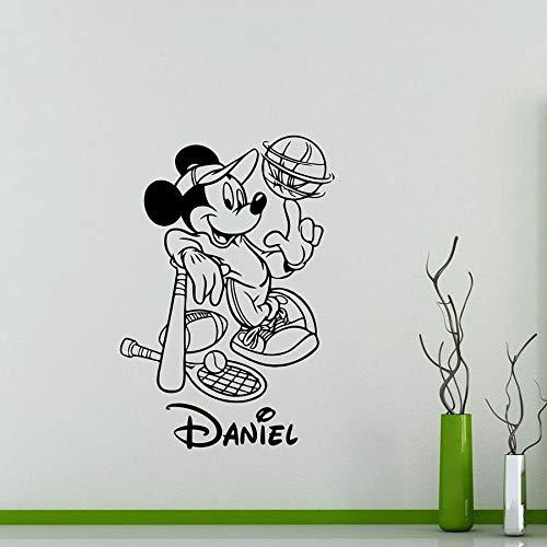 Tianpengyuanshuai muurstickers, motief: muis, persoonlijkheid, sportbal, personaliseerbaar, van vinyl, voor kinderkamer, ter decoratie van school, kleuterschool