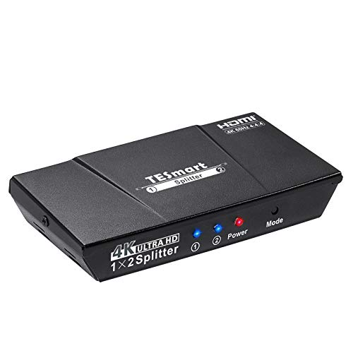 TESmart HDMI Splitter 1 Input 2 Output 4K@60Hz 4:4:4 Ultra HD Dual Monitors Compatible with PC PS3 PS4 Xbox-HDMI, HDCP 2.2, HDR, RGB, YUV, 18 Gbps(Black)