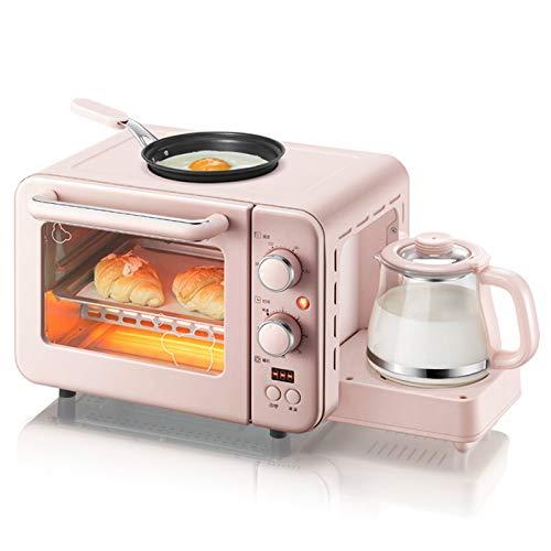 Multifunción Multifuncional 3 en 1 Desayuno máquina eléctrica 8 litros Mini Horno Cafetera huevo sartén Hogar Pan Horno de Pizza Grill tostada (Color : Pink)