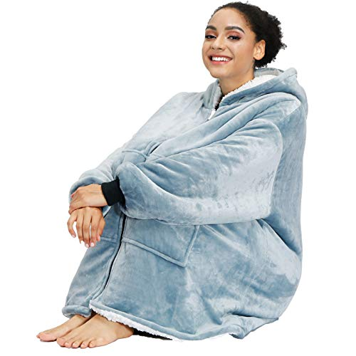 Sherpa Zip Blanket Hoodie with Long Sleeves Hood Deep PocketsOversized Blanket SweatshirtGiant Winter Wearable Blanket for Women Men Adult Teens Grey
