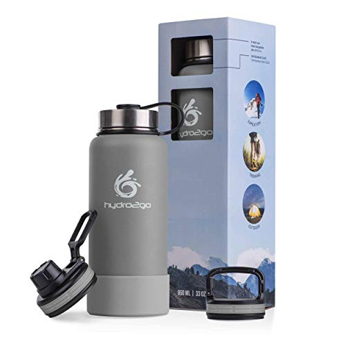 hydro2go ® Edelstahl Trinkflasche X-AlpsBottle - 1000ml / 1l   vakuumisolierte Thermosflasche + 3 Trinkverschlüsse   Auslaufsichere Isolierflasche   doppelwandige Outdoor Sportflasche   Thermoskanne