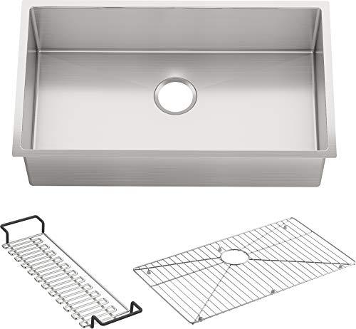 KOHLER K-5285-NA Strive 32 X 18-1/4 X 9-5/16-Inch Under-Mount Single Bowl Kitchen Sink with Basin Rack, Stainless Steel, 1-Pack