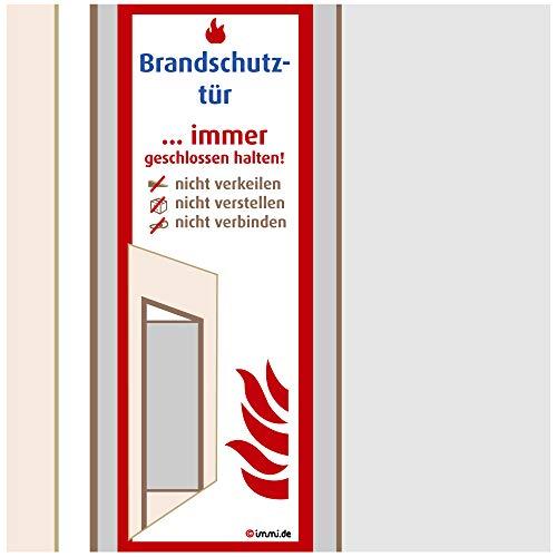 immi 8x Brandschutztür Aufkleber-Folie, Brandschutz-Schild 51x148mm