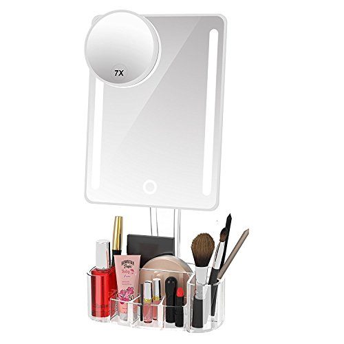 Artifi Lighted Vanity Mirror, Lighted Makeup Mirror with Acrylic Makeup Organizer and Removable 7X...