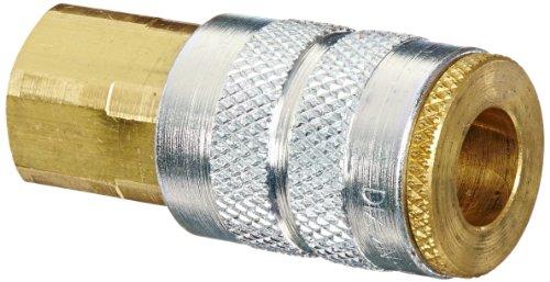 Dixon Valve 2FF2-B Brass Manual Industrial Interchange Pneumatic Fitting, Socket, 1/4 Coupler x 1/4 - 18 NPTF Female Thread by Dixon Valve & Coupling
