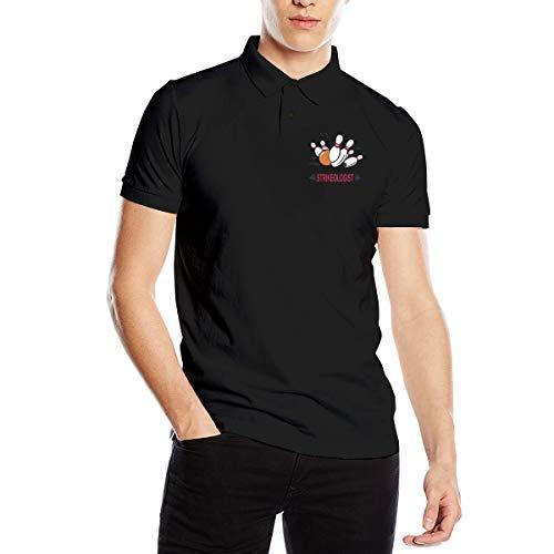 Cute Pink Piglet Strikeologist Bowling Logo Essentials Herren Regular Fit Baumwoll Polo Shirt Kurzarm Golf Polo Shirt