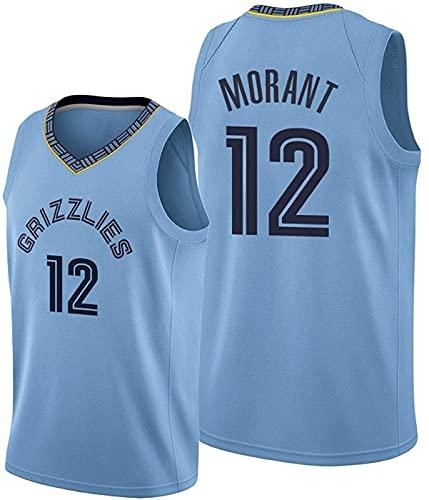 Jersey de baloncesto para adultos, chaleco bordado de verano Nba 12 #, parte superior de ventilador de swinger casual y cómodo, azul claro - XXL-XXLarge