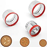 3Pcs Fluted Round Cookie Cutters 2' 2.6' 3', Heavy Duty Food-Grade Stainless Steel, Biscuit Cutter, Mini Cookie Cutters, Cookie Cutters for Baking, Unique Design with Protective Red Top PVC