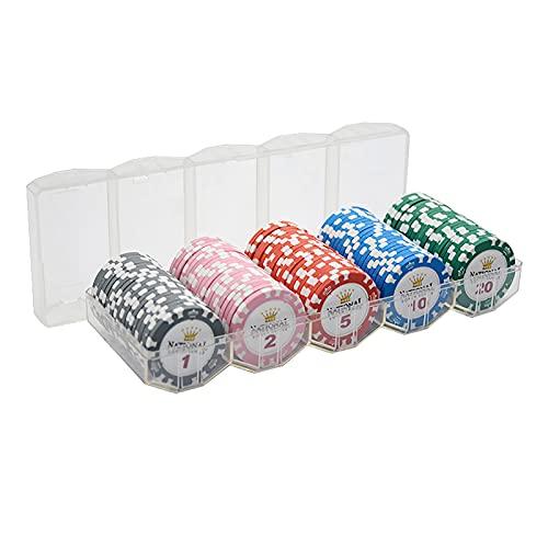 YZJJ 100 Juego de fichas de póquer Texas Hold 'em Clay, Estilo de Casino con fichas a Rayas, 14 g, con Estuche de acrílico para Jugar a la Fiesta de los Amigos de la Familia